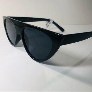 Vintage Inspired Black Flat Top Cat Eye Sunglasses